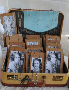 Vintage necklace displays.