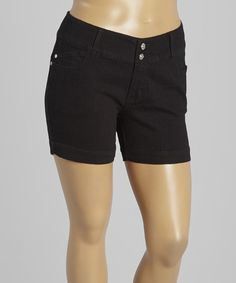 Another great find on #zulily! Black Double-Button Shorts - Plus by 1826 Jeans #zulilyfinds