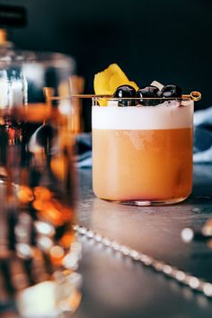 We used aquafaba (chickpea water) as a vegan egg white substitution, along with fresh lemon, and a bit of cask-strength bourbon to create a much improved version the Amaretto Sour.