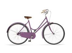 granturismo violet \\ Italian steel frame   with joints and braze welding \  Tyres with reflecting lines \  Fully enclosed chainguard,  metal mudguards \  Leather saddle \  Back-pedal rear brake \  Manual front brake \  Battery powered lights \  Front wheel quick release