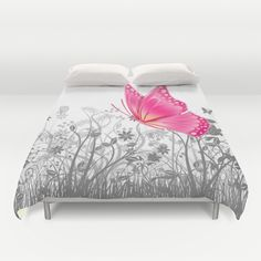 #fantasy #butterfy#animals #insects #girly #pretty #duvetcover #bedroom in different #homedecor products. Check more at society6.com/julianarw