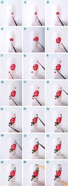 Effect art tutorials How to Make Floral Nail Art tutorial floral nail art 4 Rose Nail Art, Floral Nail Art, Nail Art Diy, Diy Nails, Rose Art, Rose Nail Design, Nail Nail, Diy Rose Nails, How To Nail Art