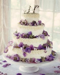 Dress up a simple cake with some fresh flower petals