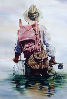 awesome Original Watercolor Paintings Fly Fishing & Cowboy Art by www.dezdemon-exot...