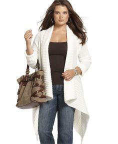 MICHAEL Michael Kors Plus Size Cardigan, Long Sleeve Open Front Handkerchief Hem  Orig. $150.00  Was $112.99  Now $95.99