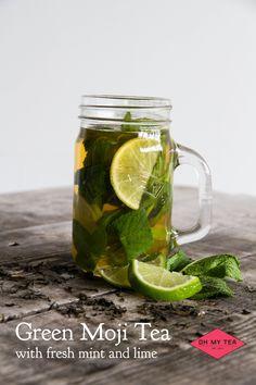 Green Mojitea. Verse superior Jasmijn tea met daarbij toegevoegd heerlijke verse munt en limoen!