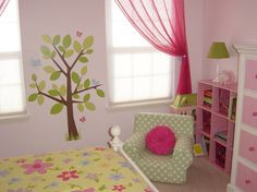 """Big Girl Room on a Budget, My 4-year old daughter outgrew her toddler bed/room, so it was time to update and purchase a big girl bed.  I call this """"Girly Nature"""" themed., Reading corner with pink cubbies to hold books., Girls' Rooms Design"""