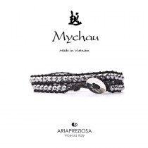 Mychau - Bracciale Vietnam originale realizzato con Ematite Placcata naturale su base bracciale col. Nero