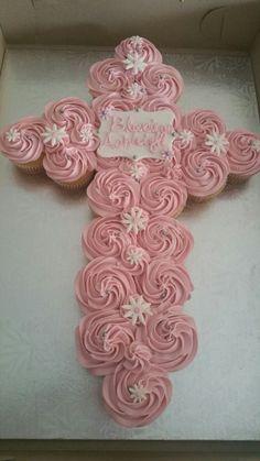Baptism cupcake pull apart cake