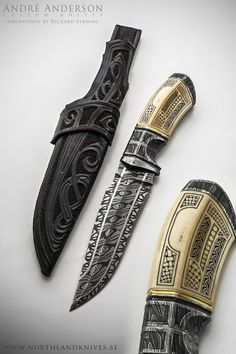 A New Knife by André Andersson. Engraved by Swedish engraver Rickard Perman. Total length: 26,5cm // Handle length: 11,5 cm // Bladesteel: Uddeholm 15N20, Uddeholm 15LM // Blade: 3 bar damascus. // Handle: Fossil tooth and damascus. // Sheath: Viking ornamented rawhide leather sheath