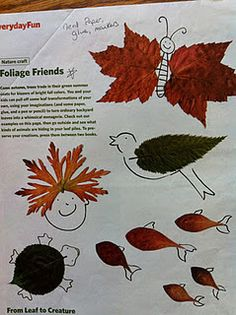 Taken from Family Fun mag Oct 2008 (Wild Kingdom) and Oct 2006 (Foliage Friends). Nature Activities, Fun Activities For Kids, Autumn Activities, Autumn Crafts, Nature Crafts, Projects For Kids, Crafts For Kids, Craft Club, Art Lessons Elementary
