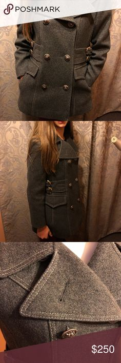 RARE Vintage 100% Wool Rovercoat  by Arthur Jay Gorgeous warm winter military style 100% Wool double breasted Peacoat.  The is in new condition with no flaws.  My daughter wears a xs/s and this was a tiny bit big around her waist.  Coat measures 17 1/2 inches armpit to armpit, 28 inches from shoulder to bottom of coat.  This is a high quality designer coat made between 1965-1976. Arthur Jay Jackets & Coats Pea Coats