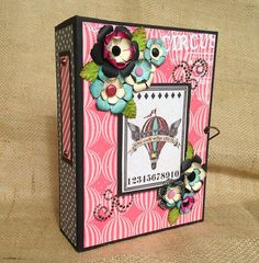 "Find Your Wings and Fly  ""Circus""  premade mini scrapbook photo album 8 x 6"