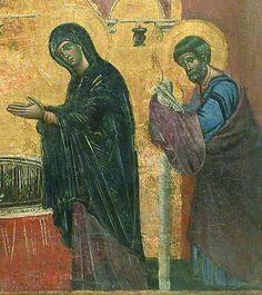 Guido da Siena - Presentazione di Gesù al tempio dal Dossale di Badia Ardenga, dettaglio - circa 1275-1280 - oro e tempera su tavola - Museo del Louvre, Paris