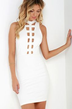 We all have our special-tease, so show off yours in the Expert-tease Ivory Bodycon Dress! A high, funnel neckline introduces a sultry caged bodice with cutouts along the front and an ample V at back (fastening behind the neck with a gold button). Princess seams run down the stretch-knit, sleeveless bodice before meeting a short, bodycon skirt. Hidden back zipper.