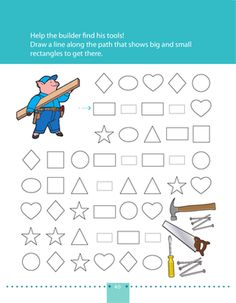 A builder needs to find his tools! On this prekindergarten math worksheet, kids draw a line along the path that shows rectangles to get to the tools.