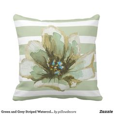 Green and Grey Striped Watercolor Floral Pillow