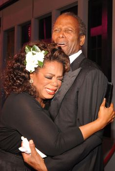 A tearful Oprah & Sidney Poiter at the opening of Tyler Perry Studios