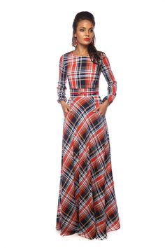 Successfully combines straight grain plaid with diagonal. Modesty Fashion, Hijab Fashion, Fashion Outfits, Check Dress, Dress Skirt, Simple Dresses, Casual Dresses, Sewing Dress, Scottish Clothing
