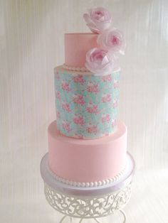 Wafer paper cake! Middle tier is a patterned paper.