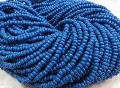 8/0 Opaque Denim Blue Czech Glass Seed Bead Strand (CW30)