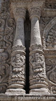 Columns at La Compañía, Arequipa, Peru photo Places To Travel, Places To Visit, Nazca Lines, Lake Titicaca, Colonial Architecture, Machu Picchu, You're Awesome, Religious Art, South America