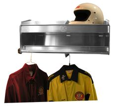 """2 Bay Helmet Shelf Deluxe - A little twist to one of our best sellers. The difference from our """"Original"""" 2 Bay Helmet Shelf is that we added full storage shelf. We also added a removable front tube for hanging items, such as clothing, tie-downs, gloves and more.   Dimensions: 28 1/2""""W x 12""""H x 15""""D http://www.pitpal.com/shelves/2-bay-deluxe-helmet-shelf/  Also works great for baseball equipment: helmet, ball, glove and uniform!"""