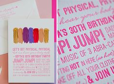 20 Ideas for Your 30th Birthday Party via Brit + Co. 17. Song Lyric Invitation: Talk about a blast from the past. This cleverly written invitation gets the party started with your favorite song lyrics from childhood. (via 100 Layer Cake)