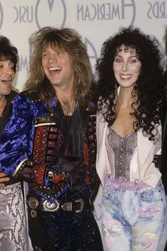 Cher with Jon Bon Jovi after Bon Jovi won an AMA in 1987. Jon & Richie wrote songs for & produced Cher's late 80's records. Richie was dating Cher at the time too.