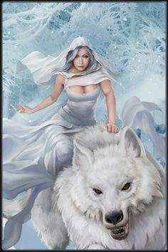 Dragon Pictures, Angel Pictures, Fantasy Paintings, Fantasy Art, Wolves And Women, Wolf Painting, Ice Art, Baby Animals Pictures, Hades And Persephone