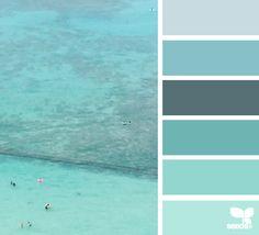 Design Seeds + Color Atlas by Archroma® Scheme Color, Colour Pallette, Colour Schemes, Beach Color Palettes, Design Seeds, Aqua, Teal Blue, Turquoise, Colour Board
