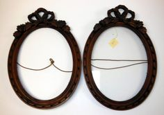 ON SALE - Pair Antique Victorian Hand Carved Walnut Frames