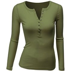 Doublju Women's Crew Henley Neck Long Sleeve T-Shirt ($20) ❤ liked on Polyvore featuring tops, t-shirts, shirts, green, henley, sleeved, charcoal gray shirt, long sleeve tops, henley shirt and extra long sleeve shirts