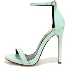 Much Adored Mint Ankle Strap Heels (£18) ❤ liked on Polyvore featuring shoes, sandals, heels, zapatos, high heels, green, green sandals, ankle strap heel sandals, green shoes and vegan shoes