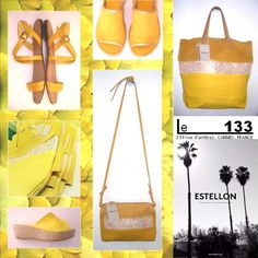 Le 133 aime le jaune. Sacs Estellon et sandales, collection été 2015. Boutique Le 133, Cannes, France