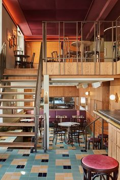 Bonnie has been a landmark of Amsterdam's Amstelveenseweg neighbourhood for the past 119 years – under the old name of Cafe Bos. Restaurant History, Bistro Interior, Amsterdam Restaurant, Wooden Panelling, Fabric Ceiling, Yellow Tile, Leather Bar Stools, Wooden Stairs, Arched Windows