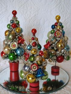 Vintage Bottle Brush Christmas Trees  That I decorated with antique ornaments