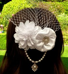 Wedding hair accessories hair flowers with veil Birdcage Bridal Headpiece White shell pearls