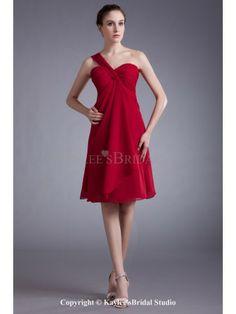 Chiffon One-Shoulder Knee-Length Column Cocktail Dress