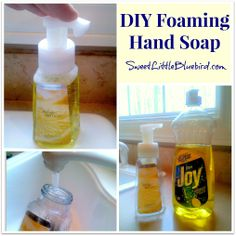 Make Your Own Foaming Hand Soap - so simple, never run out again. Fill in old foam container with 1 inch of dish soap fill rest with water, shake well. Homemade Cleaning Supplies, Diy Home Cleaning, Cleaning Items, Cleaning Recipes, Green Cleaning, Cleaning Hacks, Homemade Products, Cleaners Homemade, Diy Cleaners