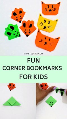 Easy corner bookmark ideas for kids with paper. Learn how to make these cute cat and mouse paper bookmarks with step by step instructions. Paper Bookmarks, Corner Bookmarks, Bookmarks Kids, Easy Origami For Kids, Origami Easy, Diy For Kids, Paper Crafts For Kids, Diy Arts And Crafts, Fun Crafts