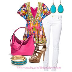"""""""Pop of color. Summer fashion. How to wear bright colors. White jeans. Fashion for women over 40."""" by dixiepixie on Polyvore"""