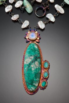 Julie Shaw necklace - rainbow moonstone and opal
