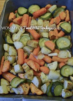 Cut up into chunky bite-sized pieces some potatoes, zucchini, onions, baby carrots (leave whole), sweet potatoes, whole garlic cloves. Put in a 9×13 baking dish.  Drizzle all over with olive oil, add salt and pepper to taste  Bake at 350 for 45 minutes.  Broil for 5 minutes for a nice brown crunch.  Optional- Dust with grated parmesan for the last 10 minutes.
