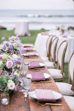 The Knot is an All-In-One Wedding Planner, with the Wedding App. Get all the wedding help you need: a registry, website, inspirations, vendors and more! Purple Wedding Tables, Wedding Colors, Wedding Gold, Lilac Wedding Themes, Farm Table Wedding, Purple Table Settings, Summer Wedding, Dream Wedding, The Knot