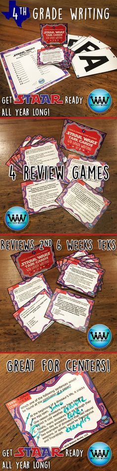 No more waiting until the last minute to prepare for the test!  Get STAAR ready all year long!  We're extremely happy to introduce our new 4th GRADE WRITING STAAR TASK CARDS!  This is the 2nd set of 6, and each set includes 24 task cards which are aligned with the TEKS & CCSS for that 6 weeks.  Instructions included for 4 methods of review: task cards, SCOOT, Quiz-Quiz-Trade, and Be the Teacher. Full preview available.  $3.50