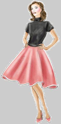 preview - #5273 Full flared skirt (50s poodle skirt costume?)