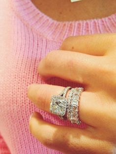 stacked + wedding bands + engagement ring