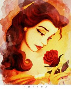 Belle with a rose Fera Disney, Arte Disney, Disney Fan Art, Disney Magic, Disney Belle, Disney Girls, Disney Love, Images Disney, Disney Pictures
