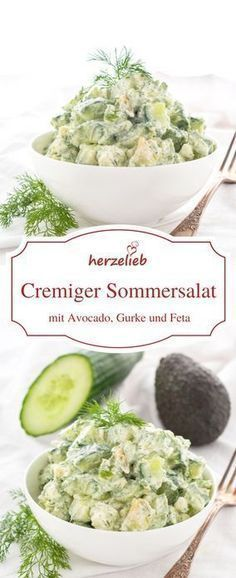 Salat Rezepte: Cremiger Sommersalat mit Avocado, Gurke, Feta und Dill. Ideal zum Grillen! Low Carb, vegetarisch und glutenfrei. Rezept von herzelieb.